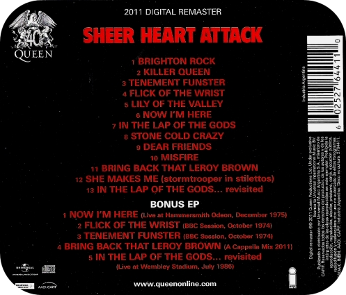 SHEER HEART ATTACK - TRACKS